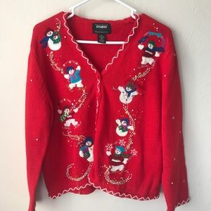 Ugly Christmas Sweater Snowman Cardigan